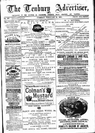 cover page of Tenbury Wells Advertiser published on February 21, 1882