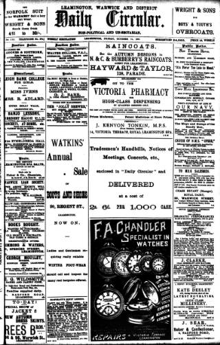 cover page of Leamington, Warwick, Kenilworth & District Daily Circular published on October 18, 1901