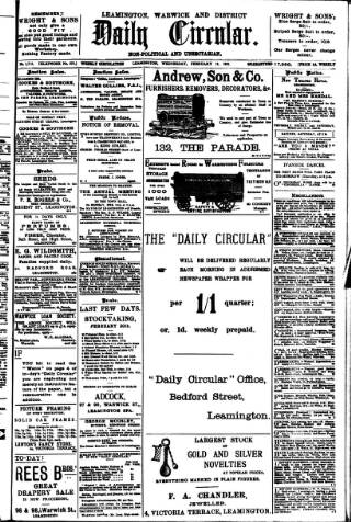 cover page of Leamington, Warwick, Kenilworth & District Daily Circular published on February 19, 1902