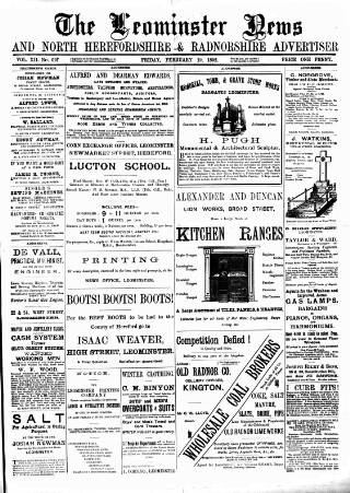 cover page of Leominster News and North West Herefordshire & Radnorshire Advertiser published on February 19, 1892