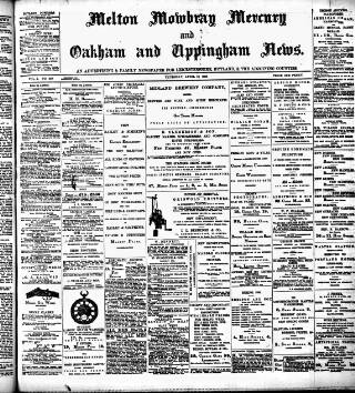 cover page of Melton Mowbray Mercury and Oakham and Uppingham News published on April 19, 1888