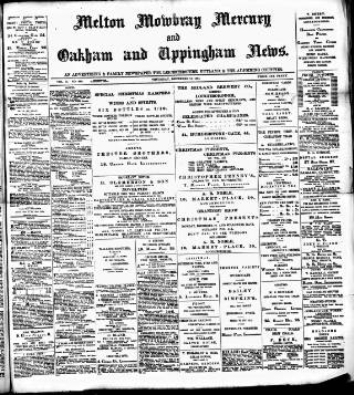 cover page of Melton Mowbray Mercury and Oakham and Uppingham News published on December 13, 1894