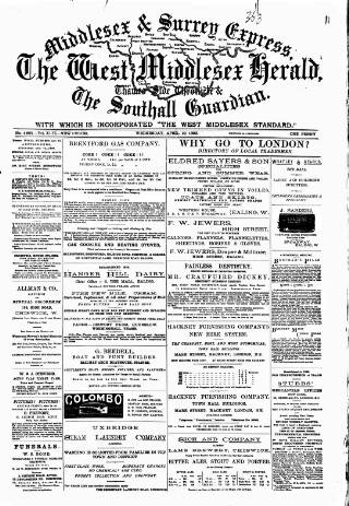 cover page of Middlesex & Surrey Express published on April 19, 1899