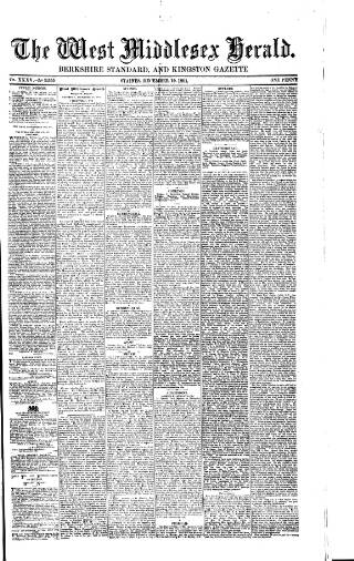 cover page of West Middlesex Herald published on December 19, 1891
