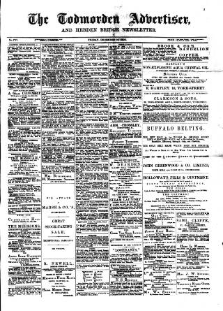 cover page of Todmorden Advertiser and Hebden Bridge Newsletter published on December 19, 1890