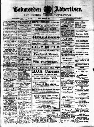 cover page of Todmorden Advertiser and Hebden Bridge Newsletter published on February 20, 1920