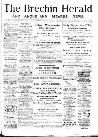 cover page of Brechin Herald published on August 25, 1891