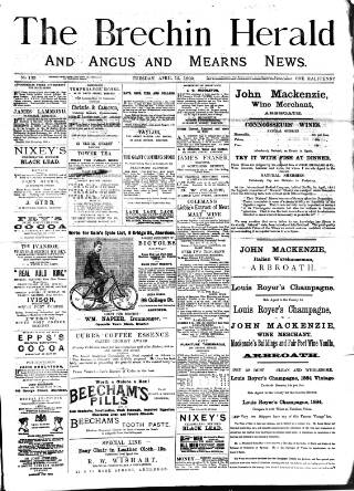 cover page of Brechin Herald published on April 12, 1892
