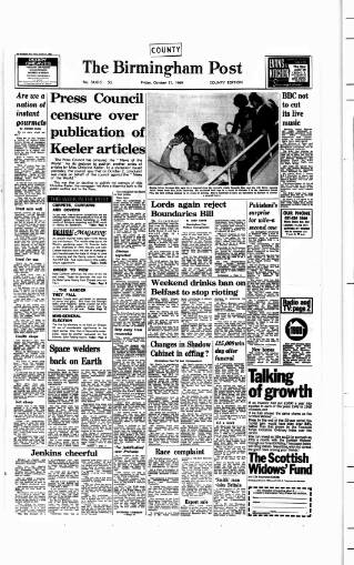 cover page of Birmingham Daily Post published on October 17, 1969