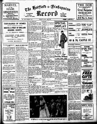 cover page of Horfield and Bishopston Record and Montepelier & District Free Press published on April 19, 1929