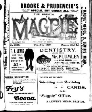 cover page of Bristol Magpie published on February 18, 1909
