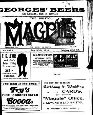 cover page of Bristol Magpie published on January 20, 1910