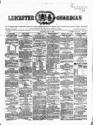 cover page of Leicester Guardian published on April 19, 1862