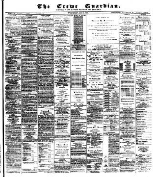 cover page of Crewe Guardian published on May 5, 1886