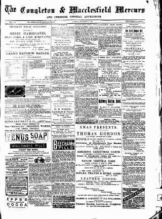 cover page of Congleton & Macclesfield Mercury, and Cheshire General Advertiser published on December 14, 1895