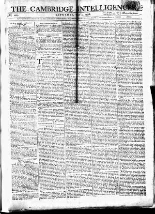 cover page of Cambridge Intelligencer published on May 5, 1798