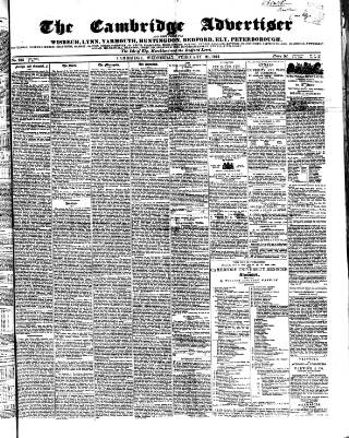 cover page of Cambridge General Advertiser published on February 21, 1844