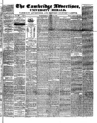 cover page of Cambridge General Advertiser published on April 19, 1848