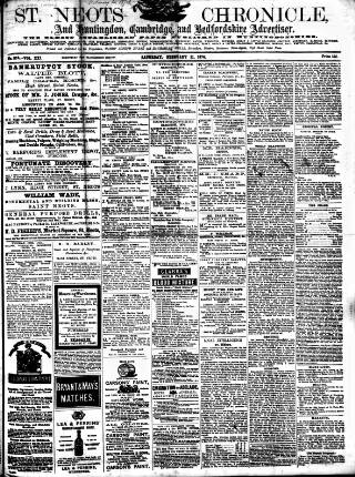 cover page of St. Neots Chronicle and Advertiser published on February 21, 1874