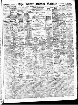 cover page of West Sussex Gazette published on February 18, 1886