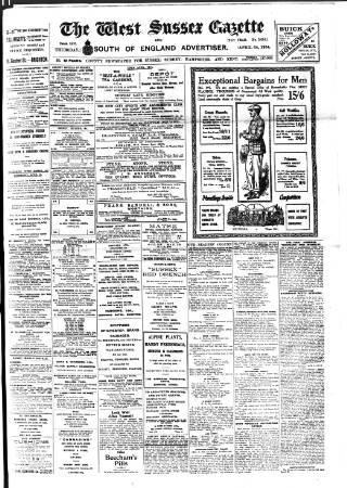 cover page of West Sussex Gazette published on April 24, 1924