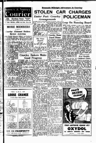 cover page of Crawley and District Observer published on April 19, 1946