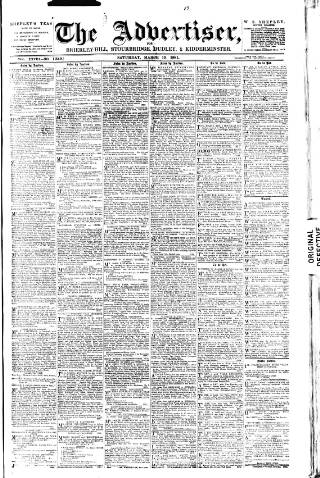 cover page of County Advertiser & Herald for Staffordshire and Worcestershire published on March 19, 1881