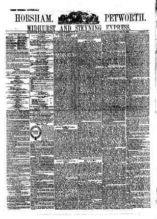 cover page of Horsham, Petworth, Midhurst and Steyning Express published on April 24, 1883
