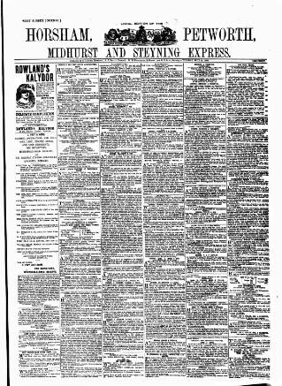 cover page of Horsham, Petworth, Midhurst and Steyning Express published on July 16, 1889