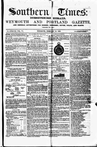 cover page of Southern Times and Dorset County Herald published on February 16, 1856