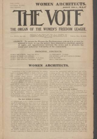 cover page of Vote published on December 19, 1919