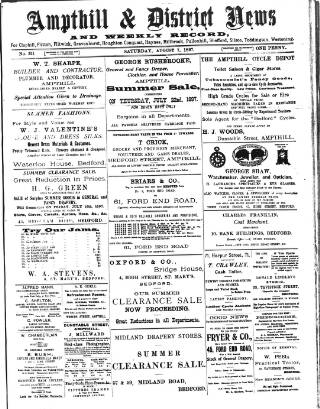cover page of Ampthill & District News published on August 7, 1897