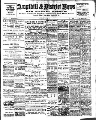 cover page of Ampthill & District News published on April 19, 1902