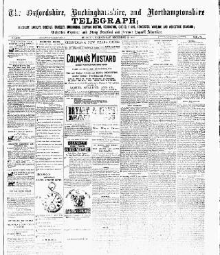 cover page of Oxfordshire Telegraph published on December 19, 1883