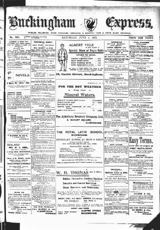 cover page of Buckingham Express published on June 1, 1912