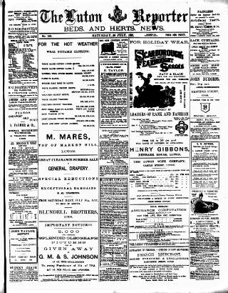 cover page of Luton Reporter published on July 16, 1892