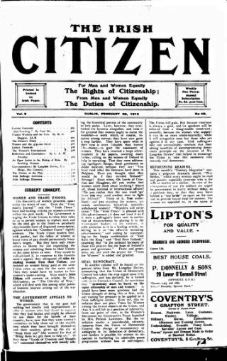 cover page of Irish Citizen published on February 20, 1915