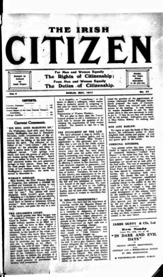 cover page of Irish Citizen published on May 5, 1917