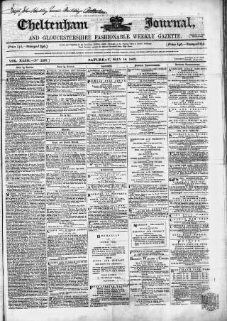 cover page of Cheltenham Journal and Gloucestershire Fashionable Weekly Gazette. published on May 18, 1867