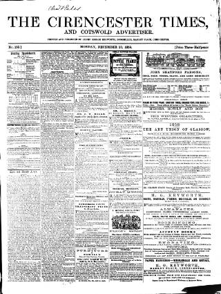 cover page of Cirencester Times and Cotswold Advertiser published on December 13, 1858