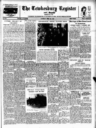 cover page of The Tewkesbury Register, and Agricultural Gazette. published on April 19, 1952