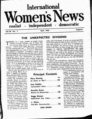 cover page of International Woman Suffrage News published on April 3, 1942