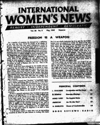 cover page of International Woman Suffrage News published on May 1, 1942