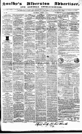 cover page of Soulby's Ulverston Advertiser and General Intelligencer published on August 16, 1855