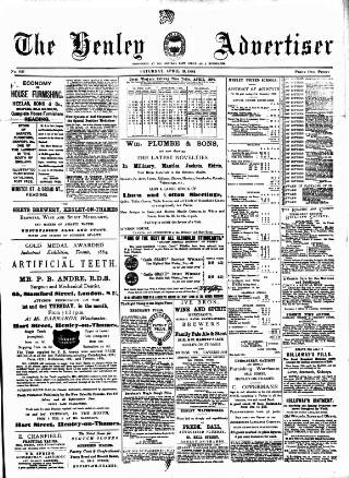 cover page of Henley Advertiser published on April 19, 1884