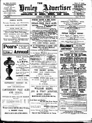 cover page of Henley Advertiser published on December 13, 1902