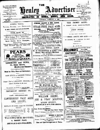 cover page of Henley Advertiser published on February 21, 1903