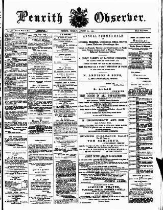 cover page of Penrith Observer published on August 18, 1885