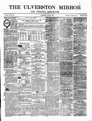 cover page of Ulverston Mirror and Furness Reflector published on June 1, 1878