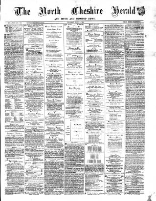 cover page of Hyde & Glossop Weekly News, and North Cheshire Herald published on June 1, 1882